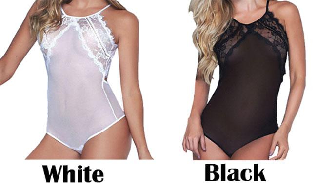 Sexy Lace Stitching Underwear Backless Chemise See Through Women's Lingerie