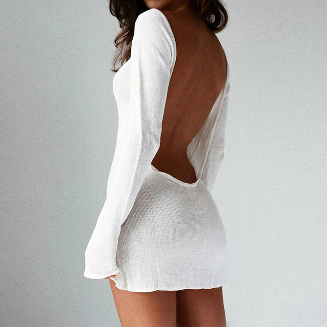 2ae55630b11 White Backless Long Sleeves Sexy Autumn Women's Sweater Dress only $18.99  -AtWish.com