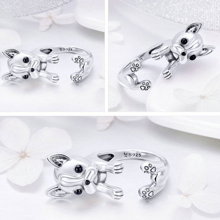 Cute Dog 925 Silver Ring Bulldog Animal Ring