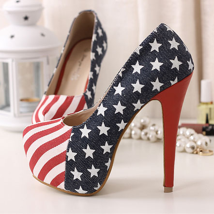 American Flag Navy Style Thin High Heels