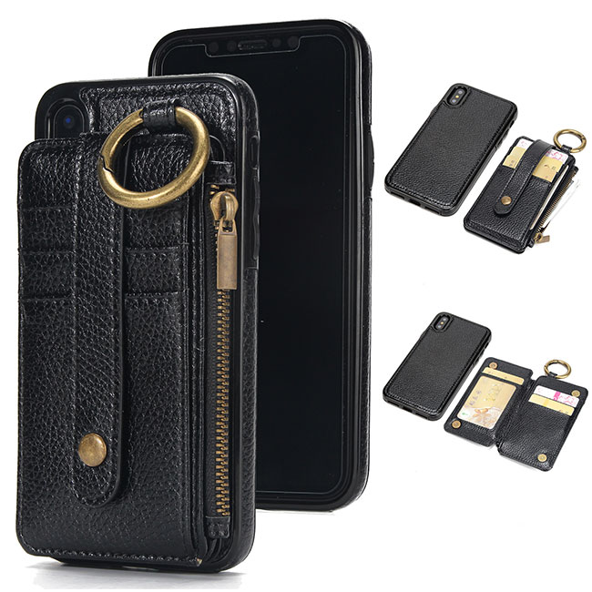 Unique Ring Leather Phone Purse Wallet Split IPhone Case