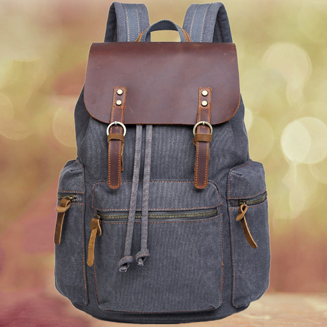 Retro Real Leather Large Thick Canvas Three Pockets School Bag Travel Backpack