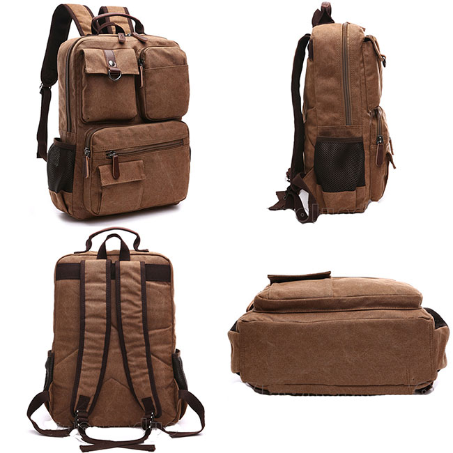 Retro School Canvas Laptop Backpack Brown Large Capacity Multi-pocketed Outdoor Travel Backpack