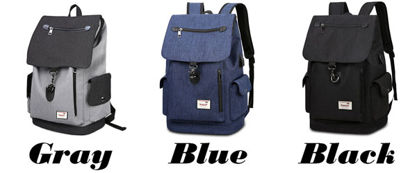 Simple Large Capacity Flap School Student Rucksack USB Interface Boy's Canvas Travel Backpacks