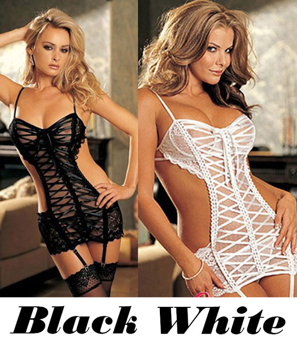 Sexy Women's  Slip Dress Underwear Baby Doll Sleepwear See Through Cross-strap Backless Lingerie