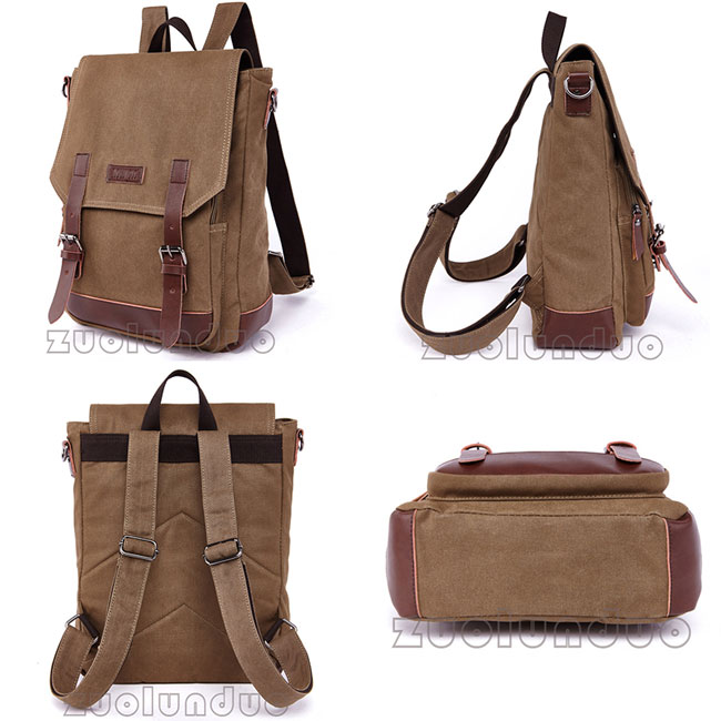 Leisure Splicing PU Belts Flap Travel Square Rucksack Laptop Bag School Canvas Backpack