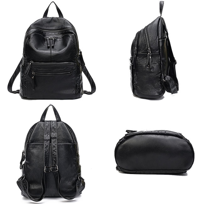 Leisure Black PU Lichee Waterproof School Bag College Double Zipper Travel Backpack