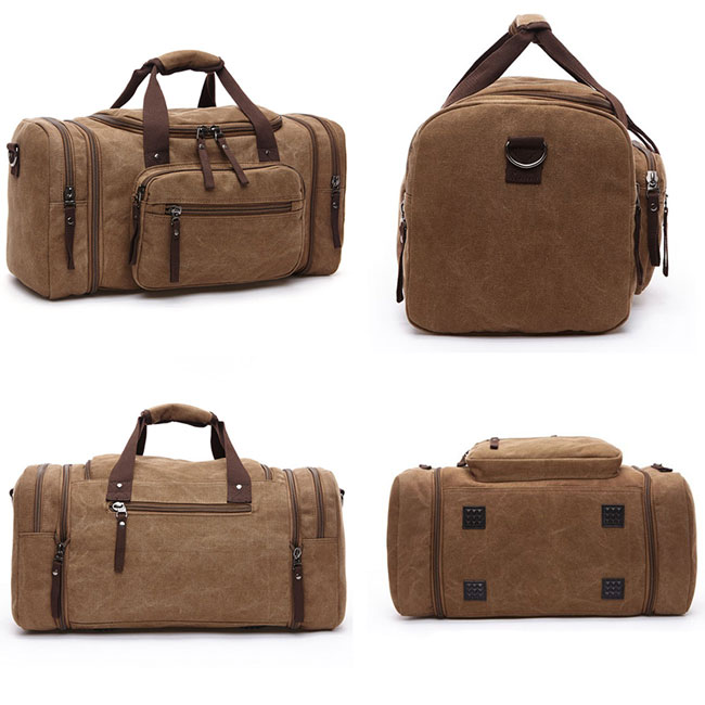 Leisure Travel Large Sport Washing Multi Pockets Canvas Men Shoulder Bag