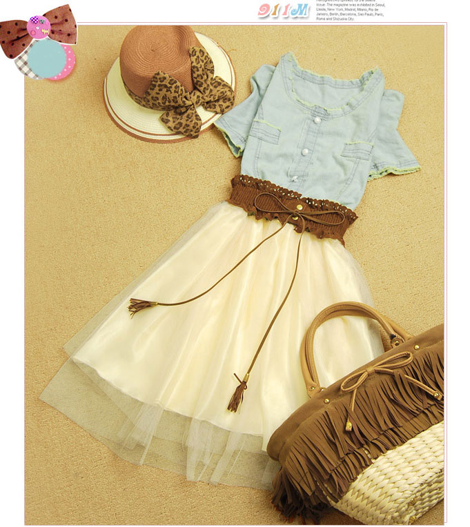 Fashion good Retro Denim Gauze Skirt Dress