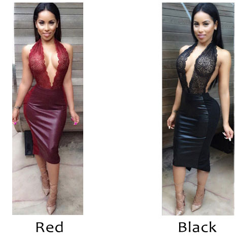Sexy Women's Embroidered Halter Siamese Split Backless Skirt PU Lace Dress