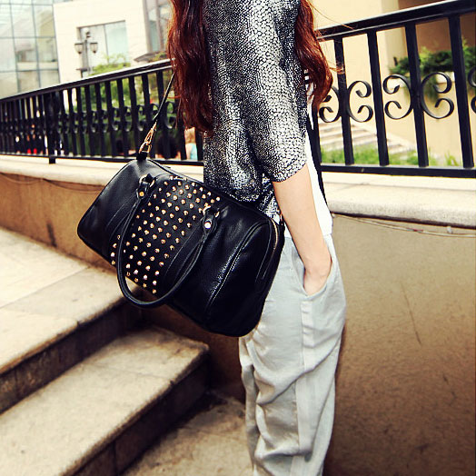 fashion Retro Rivet Bucket Handbag& Shoulder Bag