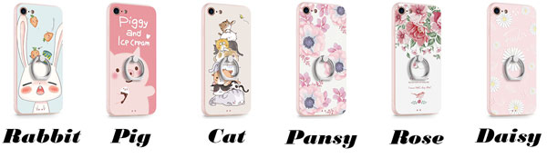 Cartoon Animals Rabbit Cat Pig Fresh Flowers Iphone 7/7 plus/8/8 plus IPhone Case