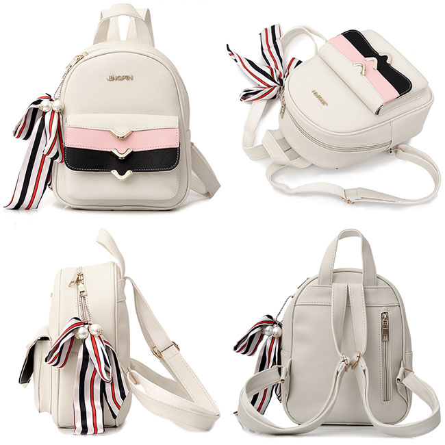 Cute PU Colorful Stripe Flap Decorative Backpack Street Style Small Leisure College Backpacks