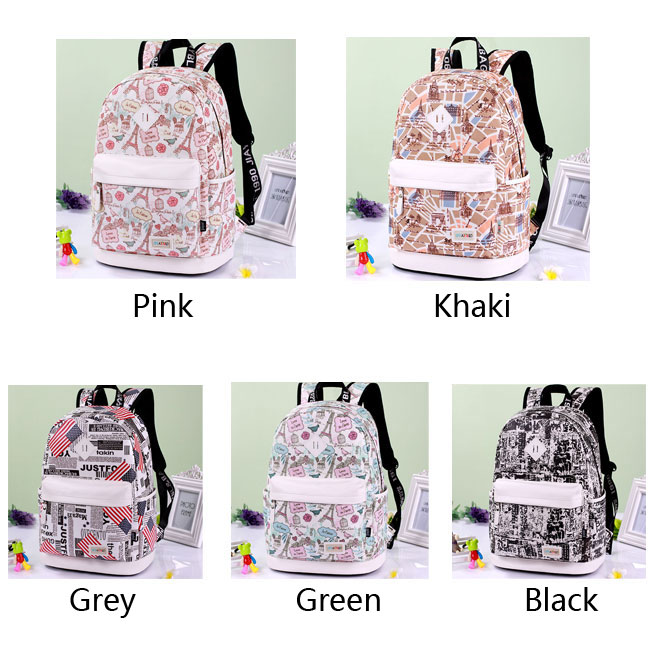Cute Canvas Travel Bag School Rucksack Sweet Cartoon Eiffel Tower ...
