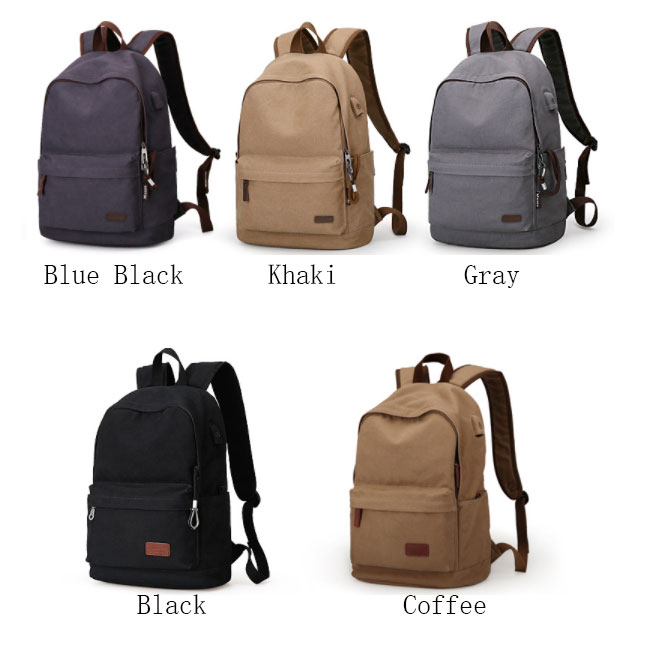 Leisure School Bag USB Interface Canvas Simple Men's Travel Backpack
