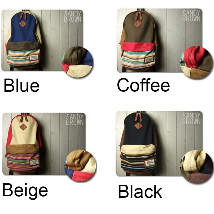 Lovely Folk Style Mixing Color Stripe Print Canvas Backpack