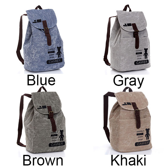 Lovley Bear Print Leisure Canvas Backpack