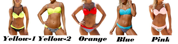 Sexy Contrast Color Sling Swimsuit  Striped Crossover Strap Bikini