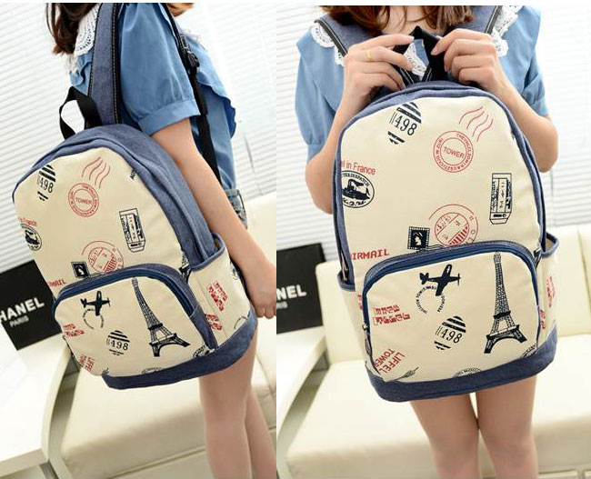 Eiffel Tower & Airplane Print Canvas British Style Backpack