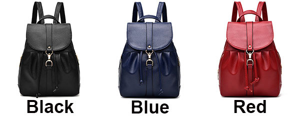 Leisure Simple Lichee Pattern School Bag PU Girl's Drawstring Metal Lock Flap Backpack