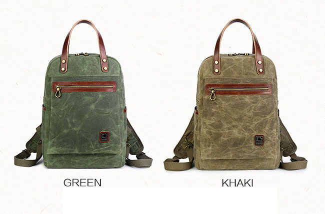 Retro Multi-function Handbag Men's Outdoor Travel Backpack Oil Wax Waterproof Canvas Rucksack