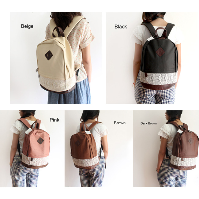 fashion College Lovely Spliced Lace Backpack