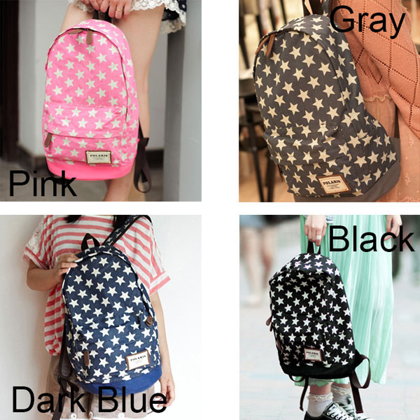 fashion Lovely Star Print Denim Backpacks