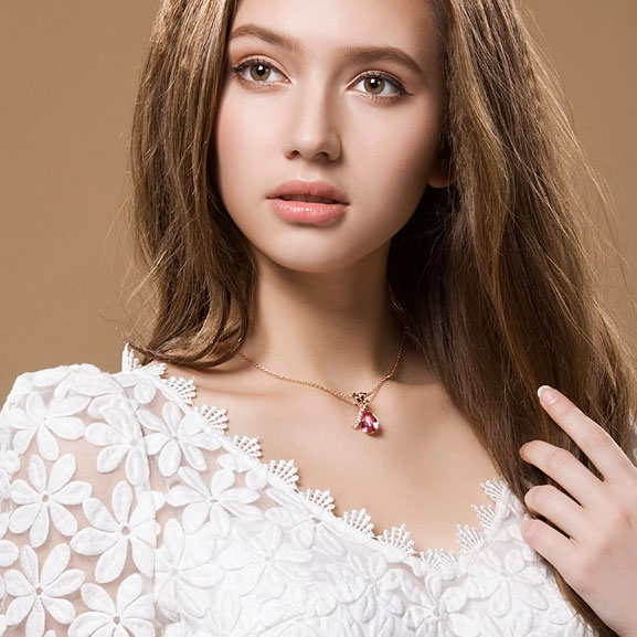 Fashion Silver Rose Crystal Necklace-Lovely