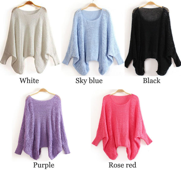 Irregular Cut Hollow Out Batwing Sleeve Loose Thin Sweater