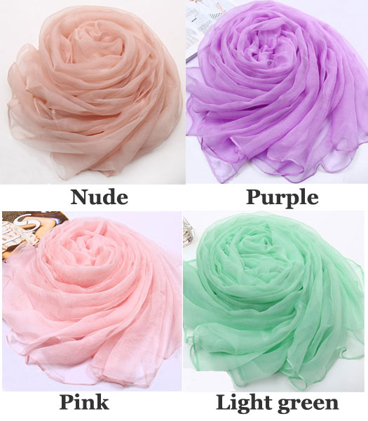 Soft Pure Color Mulberry Silk Chiffon Scarf