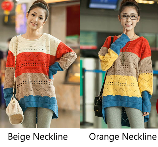 Unique Rainbow Hollow Out Irregular Loose Sweater Amp Cardigan