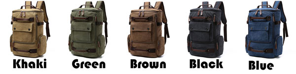 Large Capacity Boy's Cavnas Zipper Backpack Retro Washing Color School Backpack Travel Outdoor Backpack