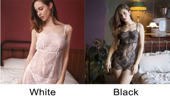 Sexy Pink Lace Transparent Hollow Nightdress Perspective Pajamas Sling Lingerie