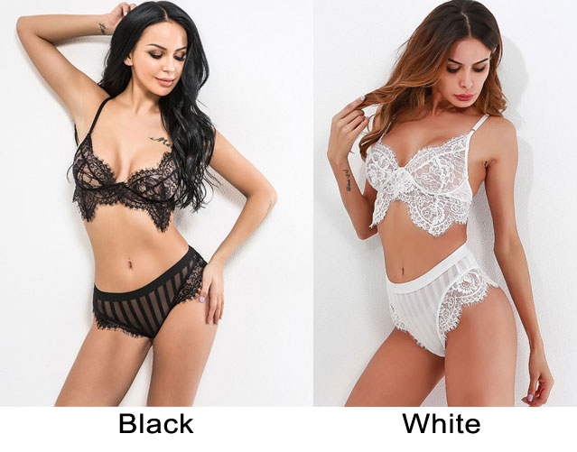 Sexy Hollow Bra Set Sling Women Black White Lace Intimate Lingerie