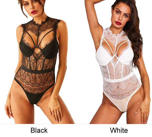 Sexy Lace Backless Hollow Perspective Conjoined Women Intimate Lingerie