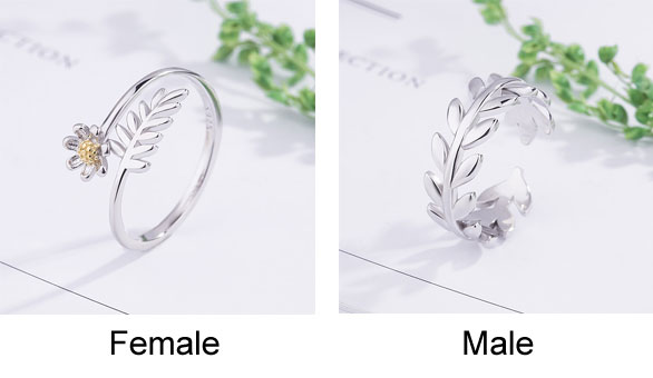 Romantic Leaves Branch Feather Flower Sweet Silver Opening Couple Rings