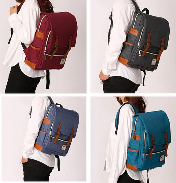 Retro Large Travel Backpack Leisure Leather Canvas Backpack School Bag