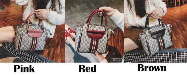 Retro Multi-function Tote Shoulder Bag Elegant Grid Stripe Girl's PU Leather Handbag