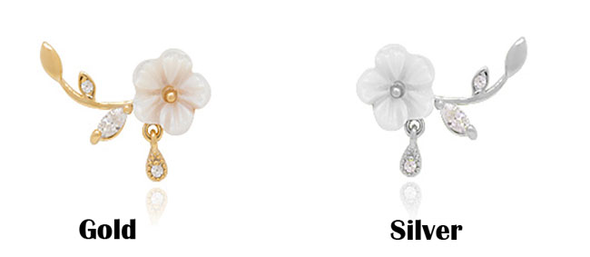 Unique Design Silver Shell Flower Shape Fashion Women Earring Studs
