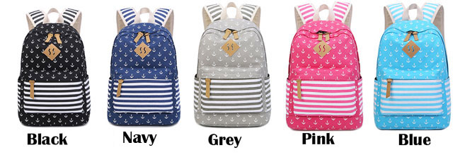 Navy Anchor Trunk Striped Dot School Travel Bag Student Canvas Backpack