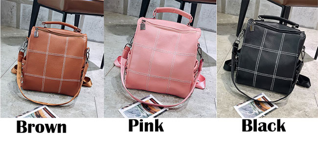 Vintage Soft Leather Rivet Multifunction Shoulder Bag Square PU Large School Backpack