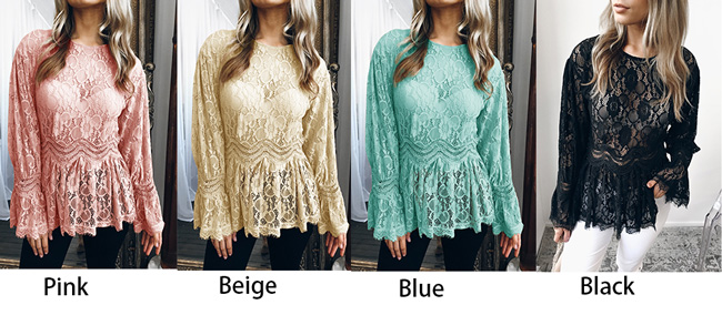 Sexy Long Sleeve Lace Casual Women's Hollow Tops Shirts
