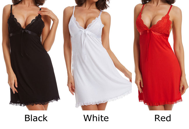 Sexy Sling Pajamas Bow Lace Dress Women Lingerie