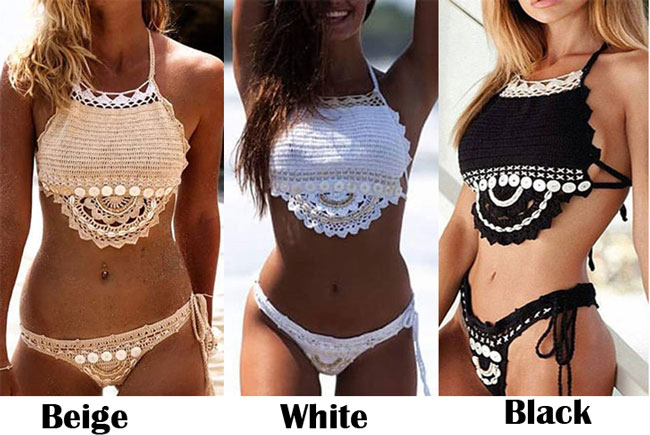 Sexy Women's Shell Bikini 2 Pieces Backless Summer Weave Swimsuit