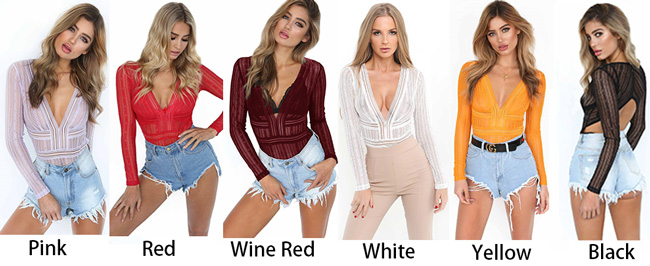 Fashion Women's Lace Deep V Neck Sexy Shirts Tops