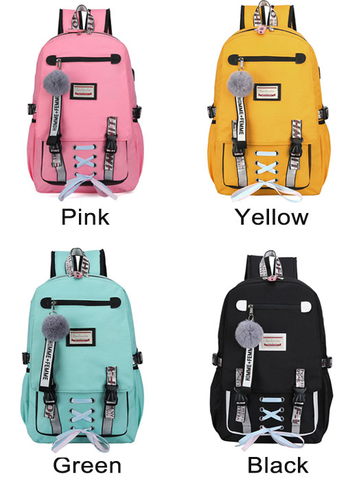 Leisure Large USB Interface Sport Backpack Shoelace Bundle School Backpack