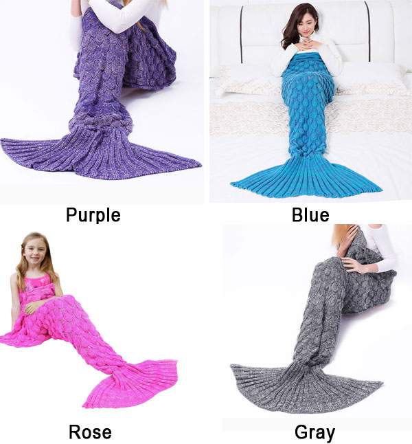 Soft Fish Scales Blanket For Women Knitted Mermaid Tail Blanket For Children