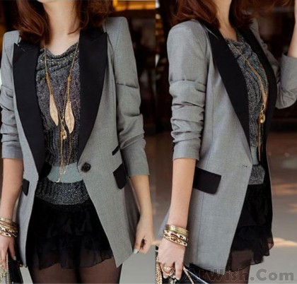Slim Lapel Shoulder Pads Cotton Long Suit Coat