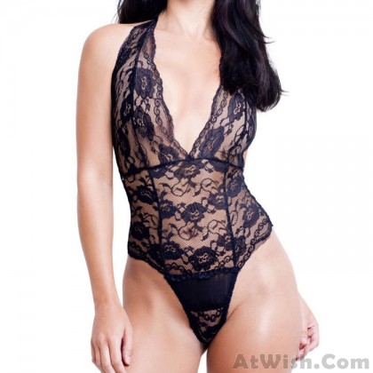 Sexy Perspective Lace Hollow Halter Band Conjoined Underwear Hot Teenage Lingerie