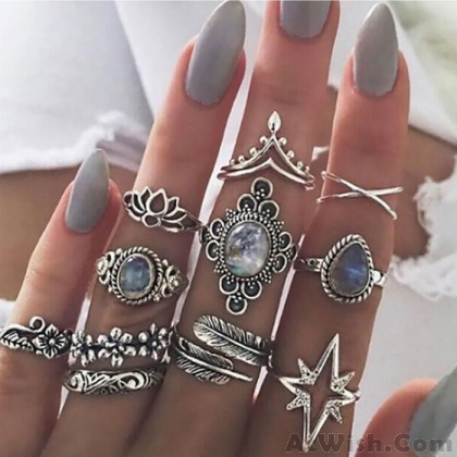 Vintage Diamond Gemstone Feather Six-pointed Star Water Drop Crown Set Women Ring
